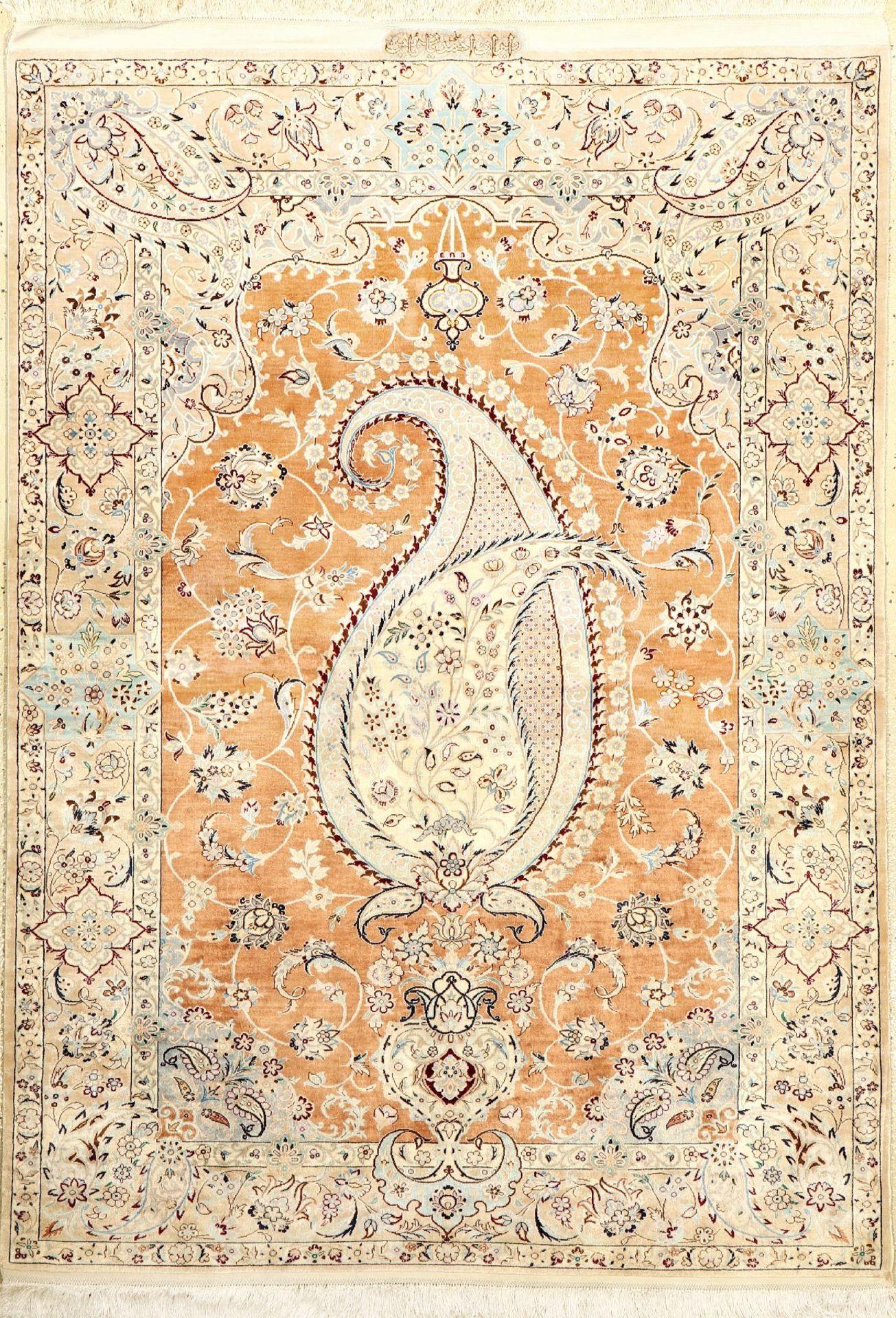 """Sehr feiner Seiden Nain """"Ali Ahmadian"""" (4 LA) """"Signiert"""", Persien, ca. 20 Jahre alt, reine"""