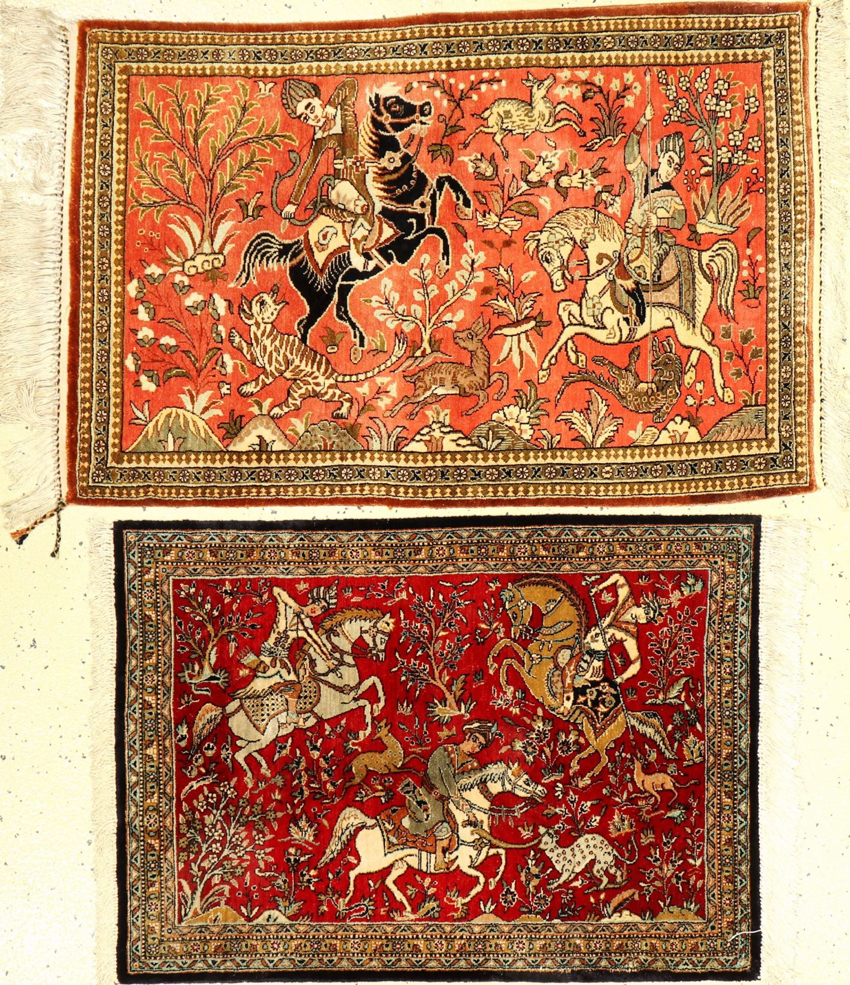 (2 Lots) 2x Seiden Ghom alt, Persien, ca. 50 Jahre, reine Naturseide, ca. 90 x 58 cm, ca. 77 x 56