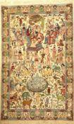 """Kaschmir """"Bildteppich"""" alt, Indien, ca. 60 Jahre, Wolle auf Baumwolle, ca. 246 x 156 cm, König"""
