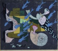 Rolf Müller-Landau, 1903-1956 Bad Bergzabern, Diagonaler Fischzug, Monotypie, handsigniert und