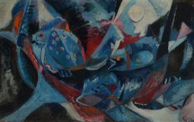Willi Briant, 1922-2015, Fische, Tempera aufHartfaser, monogr. WB und dat. 56, ca. 60x96cm, R.
