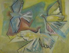 Willi Briant, 1922-2015, Vögel, Tempera auf Hartfaser, unsigniert, rückseitig Etikett der Winter-