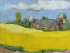 Klaus Fussmann, geb. 1938 Velbert, Landschaft mit Haus, Pastell , signiert und datiert, ca. 42x55 cm