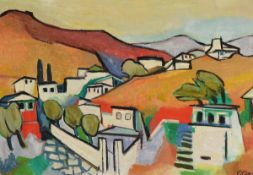 Gustave Camus, 1914 Chatelet-1984 Mons, Blick auf eine Stadt, Öl/Hartfaser, rechts unten monogr. G.