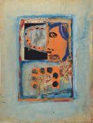 Andrzej Cicoswki geb. 1962 Polen, Schüler von A.R. Penck, hier: Collage, Wasserfarbe/Acryl/Papier,