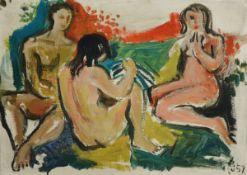 Willi Briant, 1922-2015, 2 Arbeiten in Öl auf Holz, 1x Winterwald, 1x x 3 weibliche Akte, beide