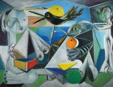 Erik Masholder, 1960 Heidelberg, Figürliche Komposition , Öl/Lwd, sign., ca. 101x130 cm, LeistenErik