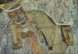 Franz Bellmann, geb. 1946 Haidl/Böhmen, zeitgenössischer Maler in Mannheim, Frau und Stier, Öl/