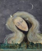 "Lajos Sebök, 1910 Szeged (Ungarn) - 1996 Neuss, ""Die gute Fee"", Öl/Platte, re u. signiert, ca. 50"