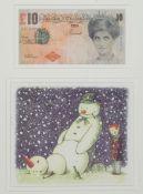 Banksy, zeitgenössischer britischer Künstler, Rude Snowman und difaced tenner, zwei Multiples in