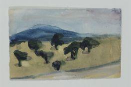 Klaus Fussmann, geb. 1938 Velbert, Aquarell, Hügellandschaft mit Bäumen, unsigniert, ca. 9 x 14