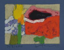Klaus Fußmann, geb. 1938, Mohn, Tulpe, Vergißmeinnicht, Farblinolschnitt auf blauem Papier,