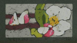 Klauss Fussmann, geb. 1938, Farblinolschnitt, Apfelblüte , sign., num. 58/200, ca. 19x10 cmKlauss