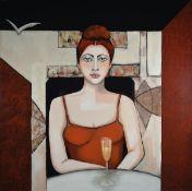 Silvia Sartelet, geb. 1947 Berlin, Frauendarstellung, Acryl/Lwd, sign., ca. 100x100 cmSilvia