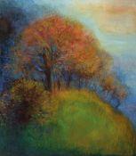 Helena Hruskova, geb. 1955 Tschechien, Herbstliche Baumreihe am Wiesenrand, Öl/Lwd, rechts unten