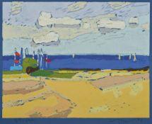 Klaus Fußmann, geb. 1938, Segelboote auf der Ostsee, Farblinolschnitt auf blauem Papier,