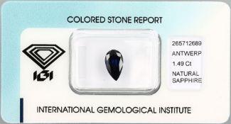 Loser Saphir, 1.49 ct, tropfenf. facett., Deep Blue, verschweißt, mit IGI-ExpertiseLoose sapphire,