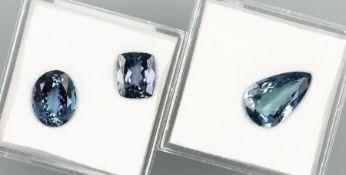 3 lose Tansanite in versch. Schliffformen zus. ca. 8.80 ct Schätzpreis: 1200, - EUR3 loose