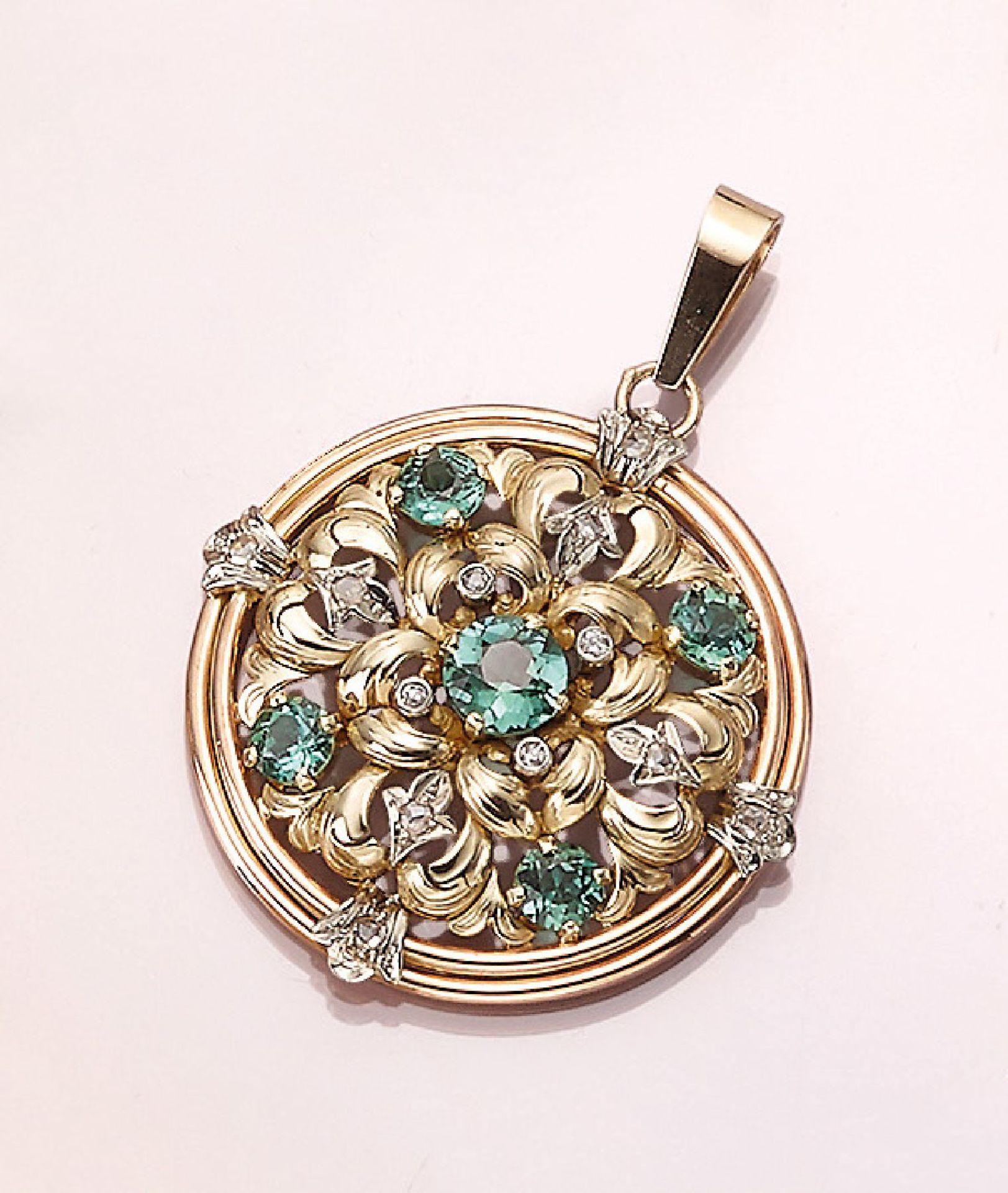 Los 21519 - 14 kt Gold Anhänger mit Turmalinen und Diamanten, GG/WG/RoseG 585/000, florale Gestaltung, 5 rund