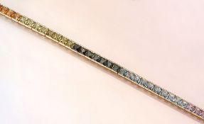 18 kt Gold Regenbogenarmband mit Farbsteinen, GG 750/000, Farbsteincarrees, u.a. Granat, Citrin,