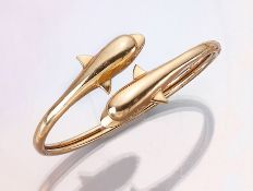 """14 kt Gold Armreif """"Delphine"""", GG 585/000, ca. 5 x 6.5 cm, semi-flexibel, total ca. 20.8 g14 kt gold"""