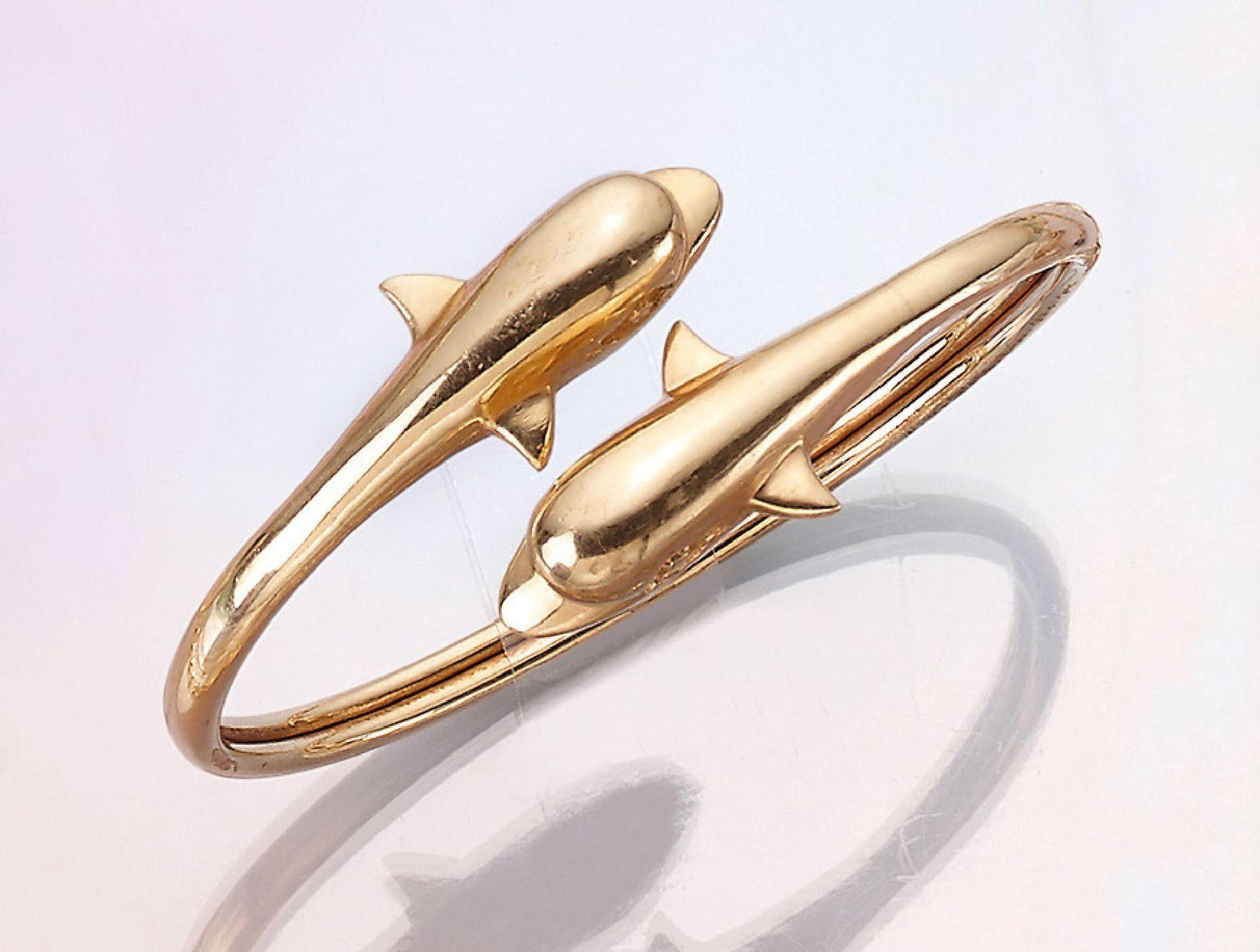 "Los 21514 - 14 kt Gold Armreif ""Delphine"", GG 585/000, ca. 5 x 6.5 cm, semi-flexibel, total ca. 20.8 g14 kt gold"