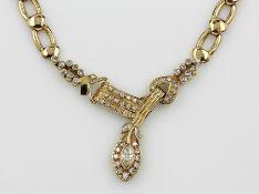 18 kt Gold Collier mit Diamanten, GG 750/ 000, 3 Diamantnavettes ca. 0.40 ct Weiß/p, Brillanten zus.