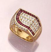 18 kt Gold Ring mit Rubinen und Brillanten, GG 750/000, facett. Rubine von guter Farbe zus. ca. 1.50