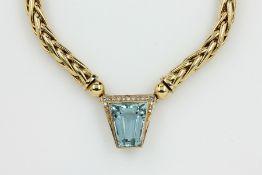18 kt Gold Collier mit Wechselschließen, GG750/000, best. aus: Schließe mit facett. Aqua-marin ca.