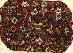 """Bergama """"Mafrasch"""" alt, Türkei, um 1920, Wolle auf Wolle, Zili-Arbeit, Tansportbehälter, EHZ: 2-"""
