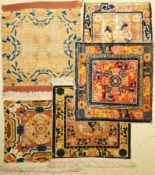 (5 Lots) 5x Ning-Hsia antik (Sitzbankteppiche), China, 18.-19.Jhd., Wolle auf Baumwolle, EHZ: 5(5