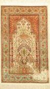 Hereke Seide, Türkei, 40 Jahre, Naturseide, ca. 140 x 70 cm, EHZ: 3Hereke silk Rug, Turkey, 40