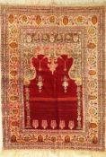 Anatolischer Gebetsteppich, alt, Türkei, um1930, Wolle auf Wolle, ca. 191 x 141 cm, EHZ: 4