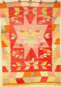 "Südamerika ""Kelim"" alt, Südamerika, um 1930, Wolle auf Wolle, ca. 172 x 123 cm, EHZ: 2-3,"