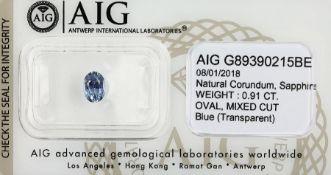 Loser Saphir ca. 0.91 ct , oval facett., 6.66 x 4.93 x 3.54 mm, mit AIG Zertifikat, verschweißtLoose