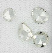 Lot 4 lose Diamantrosen, zus. ca. 1.83 ct, l.get.Weiß-get.Weiß/p1, AusfaßwareLot 4 loose diamond