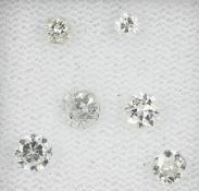Lot 6 lose Diamanten zus. ca. 1.11 ct Weiß-get.Weiß/si-p1 Schätzpreis: 1000, - EURLot 6 loose