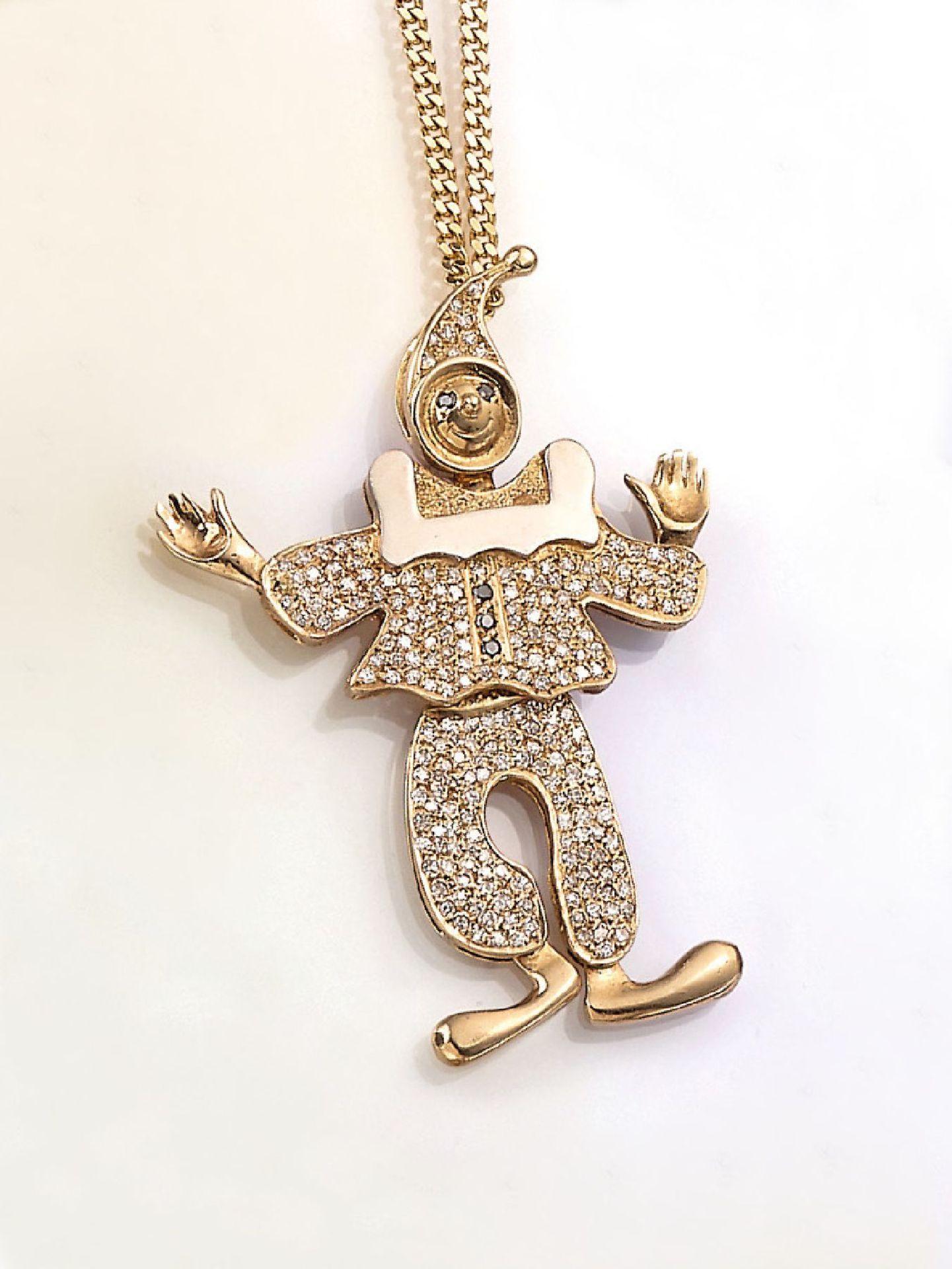 """Los 31535 - 14 kt Gold Anhänger """"Clown"""" mit Diamanten, GG 585/000, ca. 197 weißen und 8/8-Diamanten und 3 grünen"""