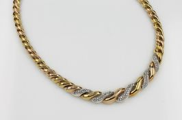 18 kt Gold Collier mit Brillanten, GG/WG 750/000, Handarbeit, Brillanten zus. ca. 1.21 ct Weiß/