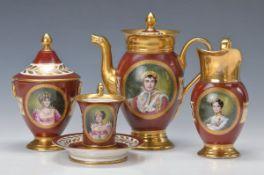 Kaffeeservice, Frankreich, nach Vorbild von Imp. Sevres, um 1900, mit den Porträts der