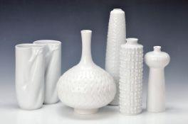 6 verschiedene Vasen, Meissen, weiß, H. ca. 20-31 cm6 various vases, Meissen, white, H. approx. 20-