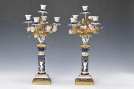 Paar Kandelaber, Samson Paris, um 1900, nach Vorbild von Sevres, Porzellan mit Bronze und,