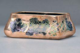 Vase/Schale, Pallme-König, um 1900, dunkelrotes Glas, mit Aufschmelzungen, lüstriert, mit