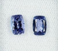 Lot 2 lose Tansanite, zus. 2.03 ct, Purplish Blue, Kissenschliff, hitzebehandelt, Herkunft: