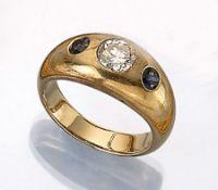 14 kt Gold Bandring mit Brillant und Saphiren, GG 585/000, mittiger Brillant ca. 0.95 ct Weiß/p,