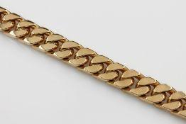 Massives 18 kt Gold Flachpanzerarmband, GG 750/000, L. ca. 21 cm, Kastenschloß mit doppelter