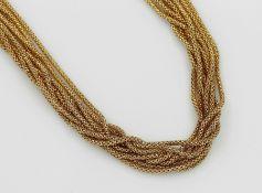 9-rhg. 18 kt Gold Collier, GG 750/000, Stränge in sich strukt. und durchbrochen gearbeitet, L. ca.