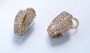 Paar 14 kt Gold Ohrstecker mit Brillanten, GG/WG 585/000, Brillanten zus. ca. 1.2 ct Weiß/vvs-si,