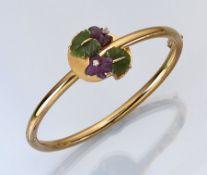 18 kt Gold Armreif mit Nephrit, Amethyst und Brillanten, GG 750/000, deutsche Juwelier-