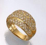 18 kt Gold Ring mit Brillanten, GG 750/000, 81 Brillanten zus. ca. 1.50 ct Weiß/p, ca. 10.1 g, RW
